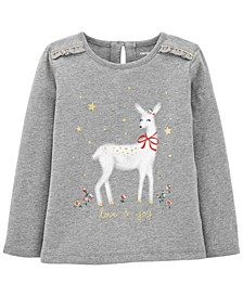 Toddler Girl Reindeer Christmas Jersey Tee
