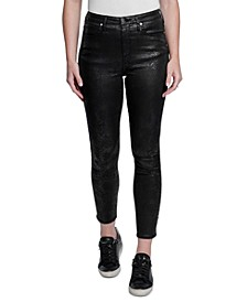 High-Rise Faux-Snakeskin Skinny Jeans