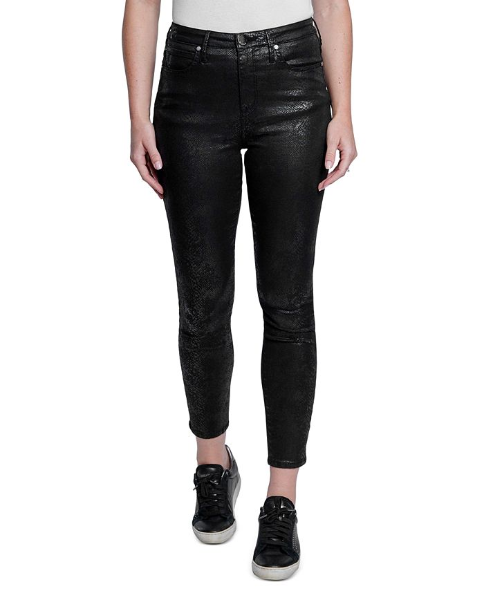 Seven7 - High-Rise Faux-Snakeskin Skinny Jeans