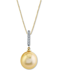 "Cultured Golden South Sea Pearl (11mm) & Diamond (1/20 ct. t.w.) 18"" Pendant Necklace in 14k Gold & White Gold"