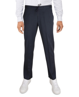 Men's Slim-Fit Tan Pinstripe Drawstring Dress Pants
