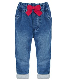 Baby Girls Red Bow Jeans, Created for Macy's