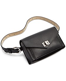 Faux-Leather Turn-Lock Convertible Belt Bag