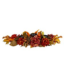Fall Hydrangea, Lotus Seed and Berries Artificial Candelabrum Arrangement