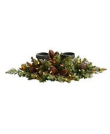 Flocked Artificial Christmas Double Candelabrum with 35 Lights and Pine Cones