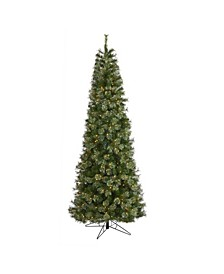 Cashmere Slim Artificial Christmas Tree with 550 Warm Lights and 1308 Bendable Branches