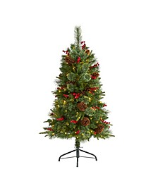 Norway Mixed Pine Artificial Christmas Tree with 150 Clear LED Lights, Pine Cones and Berries