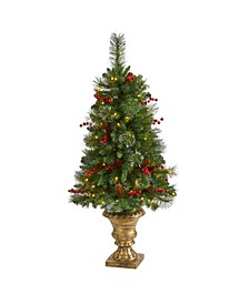 Pine, Pinecone and Berries Artificial Christmas Tree with 100 Clear LED Lights in Decorative Urn
