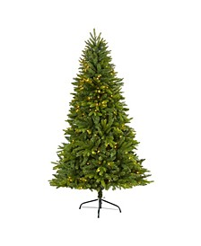 Sun Valley Fir Artificial Christmas Tree with 300 Clear LED Lights