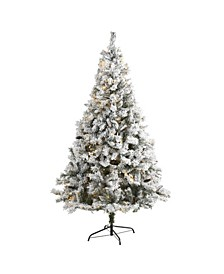 Flocked River Mountain Pine Artificial Christmas Tree with Pinecones and 350 LED Lights