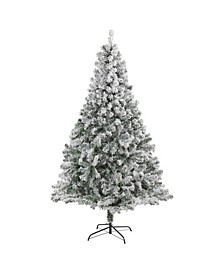 Flocked Rock Springs Spruce Artificial Christmas Tree with 800 Bendable Branches