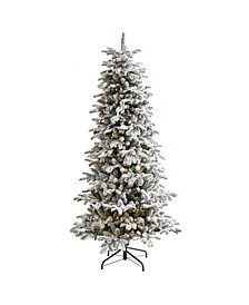 Flocked North Carolina Fir Artificial Christmas Tree with 550 Warm Lights and 2090 Bendable Branches