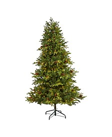 6.Yukon Mountain Fir Artificial Christmas Tree with 450 Clear Lights, Pine Cones and 1236 Bendable Branches