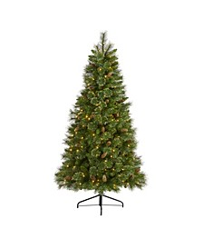 Golden Tip Washington Pine Artificial Christmas Tree with 250 Clear Lights, Pine Cones and 750 Bendable Branches