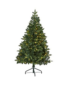 Grand Teton Spruce Flat Back Artificial Christmas Tree with 120 Clear LED Lights and 514 Bendable Branches
