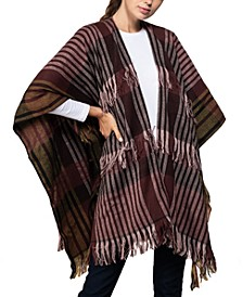 Fringe Striped Ruana Topper