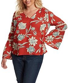 Trendy Plus Size Scarletti Bell-Sleeve Top