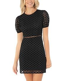 Juniors' Short-Sleeve Illusion-Dot Dress