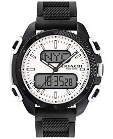 Men's C001 Analog-Digital Black Silicone Strap Watch 46mm