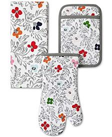 Floral Block Print Dish Towel, Pot Holder & Oven Mitt, Set of 3