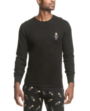 Polo Ralph Lauren Men's Big & Tall Toggle Bear Logo Waffle-Knit Pajama Shirt