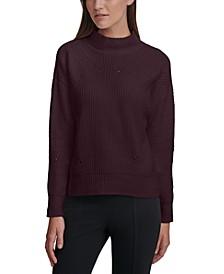 Chenille Mock-Neck Pointelle Sweater
