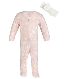 Baby Girl 2pc Footed Coverall Headband