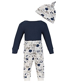 Chick Pea Baby Boy 3PC Thermal Long Sleeve Navy Blue Bodysuit and Puppy Dog Pant and Hat