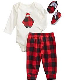 Chick Pea Baby Boy 3pc Red and Black Buffalo Plaid Pants Set