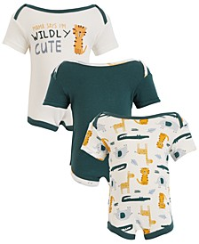 Chick Pea Baby Boy 3-Pack Short Sleeve Bodysuits - Safari Wildly Cute