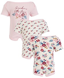 Chick Pea Baby Girl 3pk Short Sleeve Bodysuits - Grandma's Little Flower