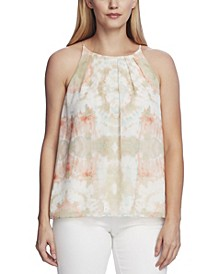 Women's Pleat Front Tie Dye Cami Blouse