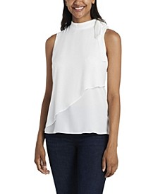 Women's Tie Neck Blouse with Front Overlay