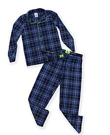 Big Boys 2-Piece Plaid Coat Pajama Set