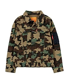 Big Boys Camouflage Print Trucker Jacket