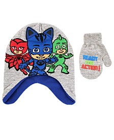 Toddler Boys Pj Mask 2 Piece Knit Hat and Matching Mittens Set