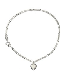 Figaro with Polished Drop Heart Charm Ankle Bracelet , Created for Macys