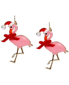 INC Gold-Tone Crystal & Imitation Pearl Flamingo Santa Drop Earrings, Created for Macy's