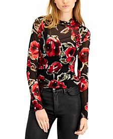 Printed Mesh Sheer Mock-Neck Top, Created for Macy's
