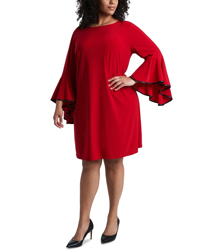 MSK - Faux-Leather-Piped Bell-Sleeve Shift Dress