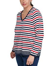 Plus Size Multi-Striped V-Neck Sweater