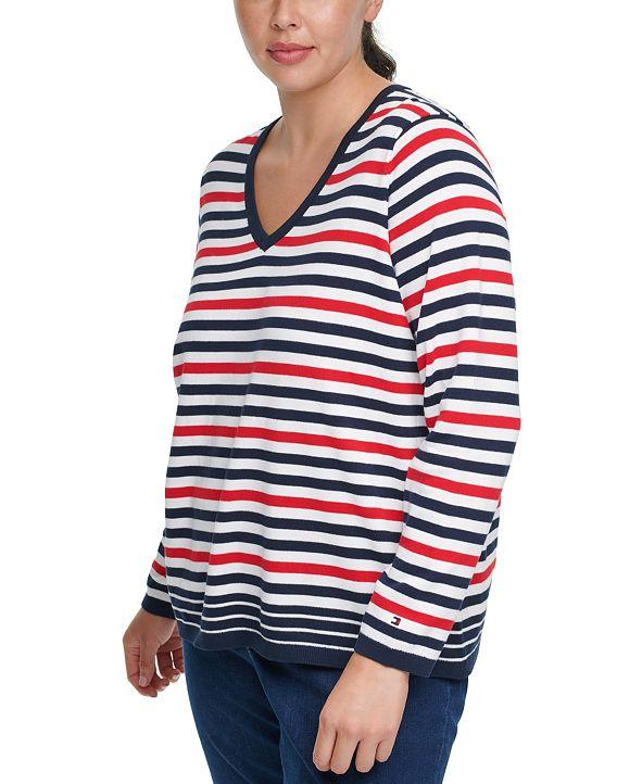 Tommy Hilfiger Plus Size Multi-Striped V-Neck Sweater