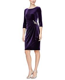 Velvet Ruched-Side Scoop-Back Dress