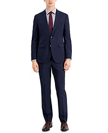 Men's Classic-Fit Navy/Burgundy/Plaid Suit Pants & Jacket