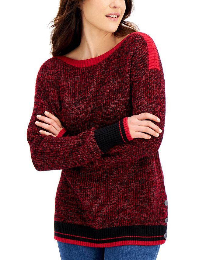 Karen Scott - Marled Boat-Neck Sweater