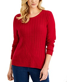Long-Sleeve Asymmetrical Cable Sweater, Created for Macy's