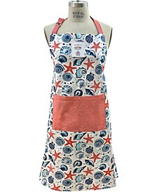 Starfish and Shell Print Tie-Back Big Front Pocket Apron
