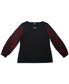 Plus Size Velvet Burnout-Sleeve Tunic Top, Created for Macy's
