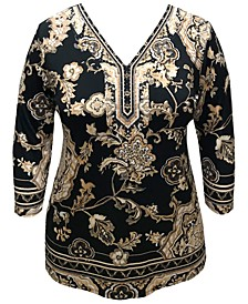 Plus Size Printed 3/4-Sleeve Studded Tunic Top, Created for Macy's
