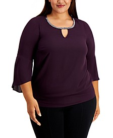 Plus Size Bell-Sleeve Embellished-Trim Blouse, Created for Macy's